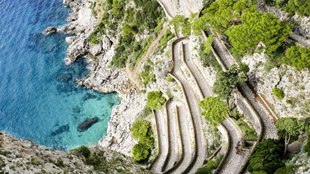 Winding roads of Capri, Italy
