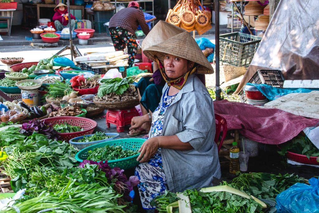 Vegetables Sale Women at the Market Hoi An, Vietnam