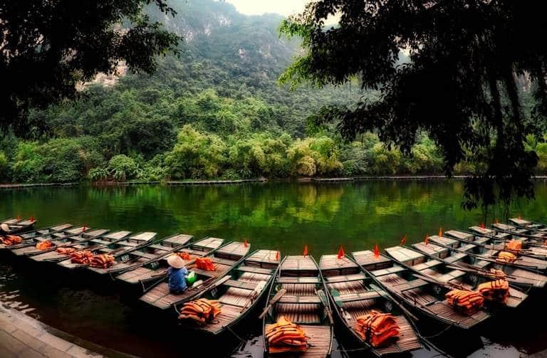 Boats in Trang An, Vietnam