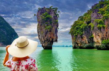 Solo female traveler in James Bond Island, Thailand