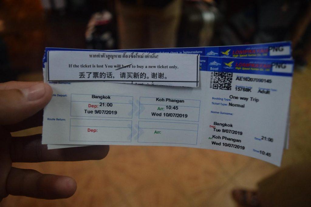 Bus ticket from Bangkok to Koh Phangan