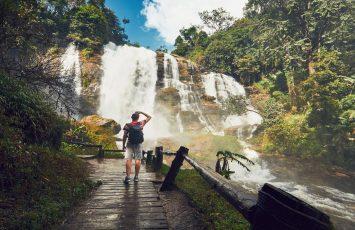 Solo traveler, Wachirathan waterfall, Chiang Mai
